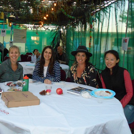 Sukkot Dinner in Our Sukkah