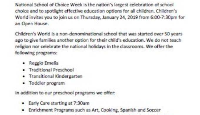 CW school of choice day 20190124