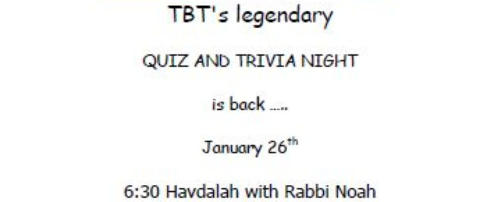 TBT QUIZ AND TRIVIA NIGHT 20190126