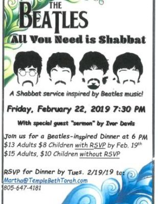 Beatles Shabbat Flyer 20190222