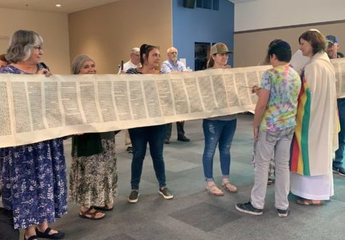 Student Reading from Torah on Simchat Torah
