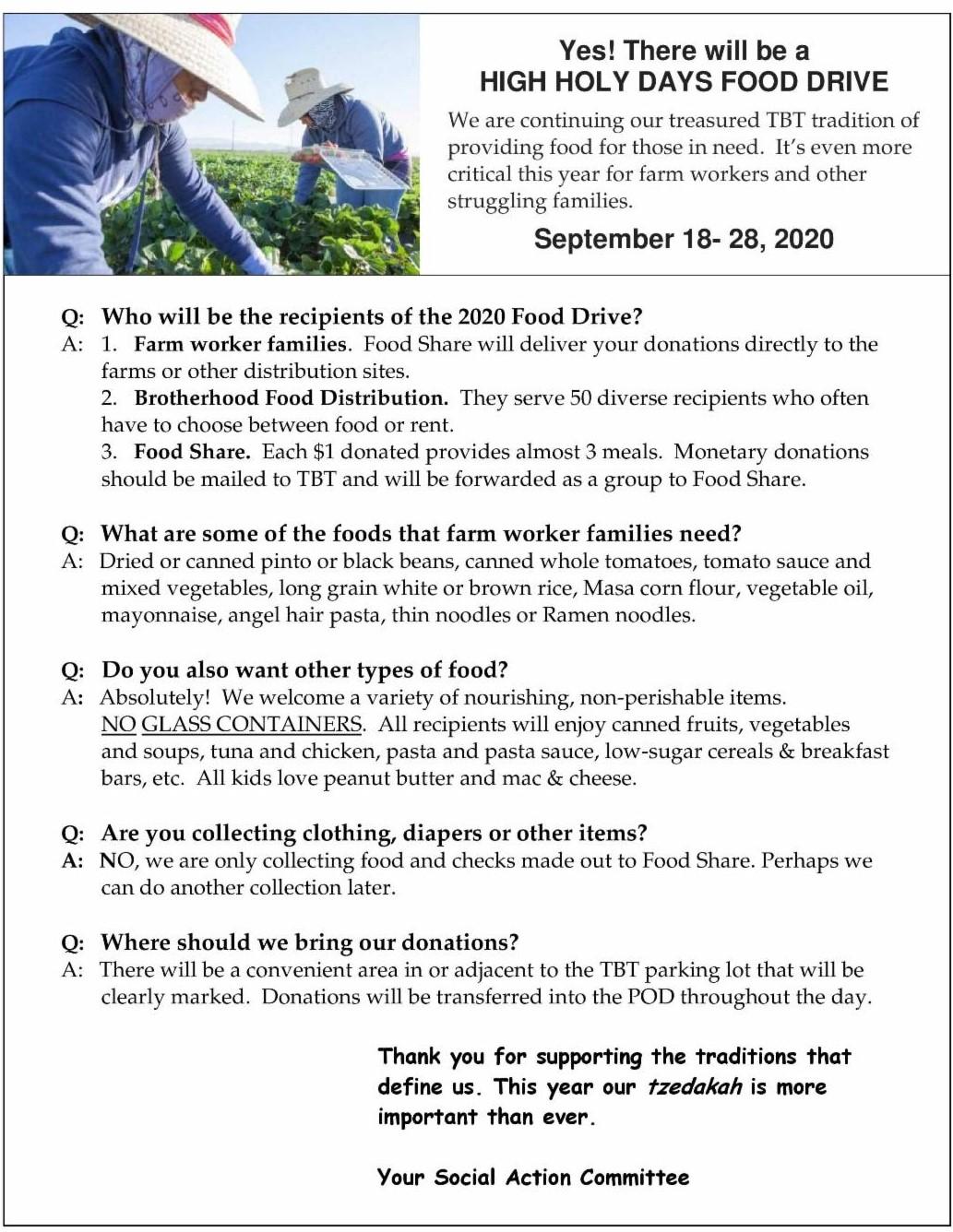 HHD 2020 Food Drive Plan